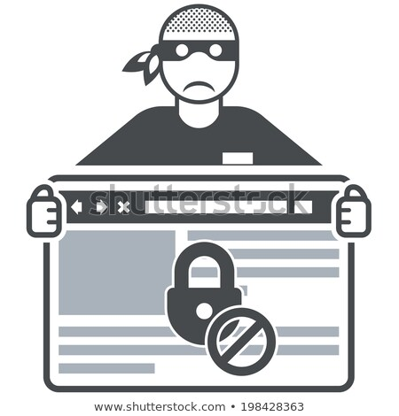 Secure website - internet swindler (hacker) and browser window Stock photo © Winner
