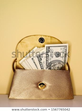 гламур сумочка полный деньги изолированный белый Сток-фото © natika