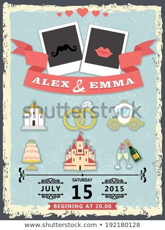 Trainer Vorlage Hochzeitseinladung Illustration Vektor formatieren Stock foto © orensila