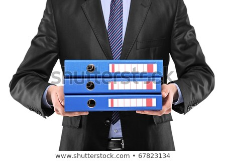 Business man holding three folders Stock photo © raphotos