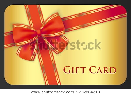 Golden gift card with red diagonal ribbon Stock photo © liliwhite