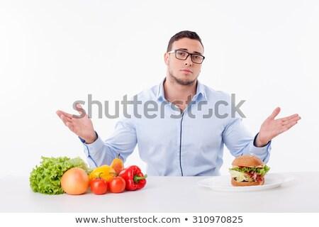 Szomorú férfi kérdez ebéd öltöny tart Stock fotó © feelphotoart