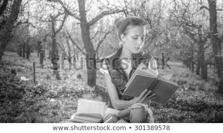 студент очки чтение книга исследование библиотека Сток-фото © feelphotoart