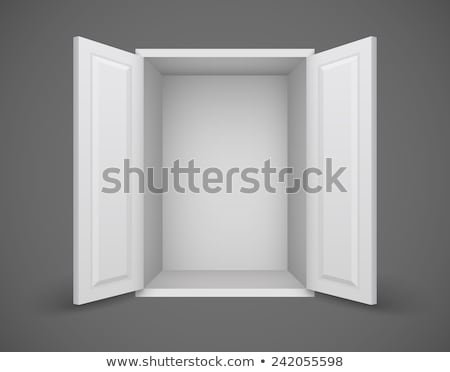 empty white box with open doors and nothing inside stock photo © loopall