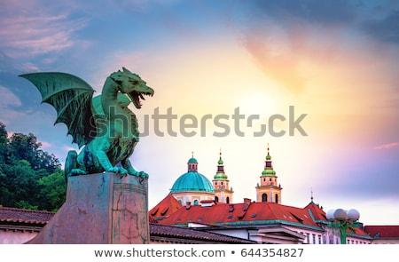 Dragão ponte Eslovenia europa pôr do sol Foto stock © kasto