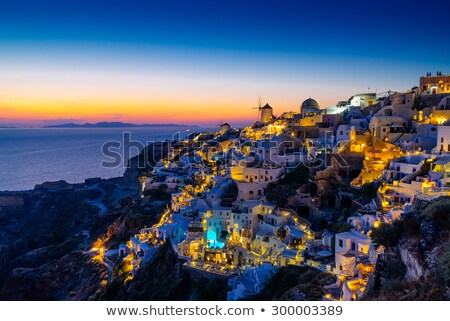 деревне сумерки красивой острове Санторини Греция Сток-фото © akarelias