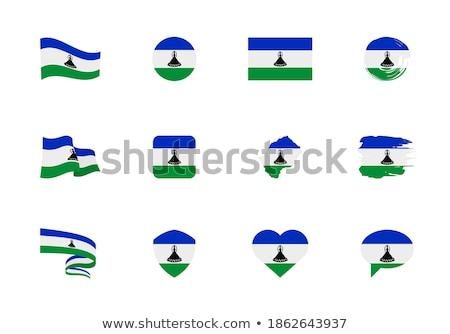 Placu ikona banderą Lesotho metal ramki Zdjęcia stock © MikhailMishchenko