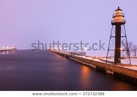 Duluth Harbor South Breakwater Inner Lighthouse during snow stor Stock photo © benkrut