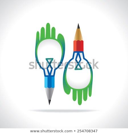 Creative ampoule mains connecter crayon affaires Photo stock © vgarts