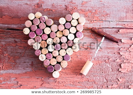 Corks in Heart Shape and Bottle Opener on Table Stock photo © ozgur