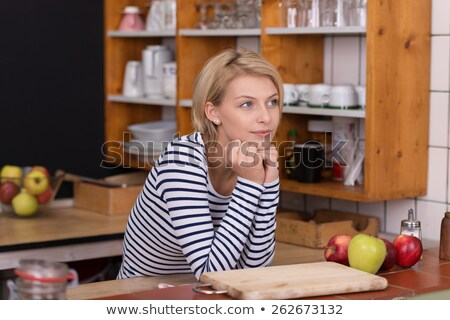 Smiling Pretty Blond Woman in Casual Stripe Shirt Stock photo © juniart