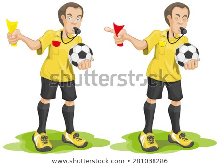 Set soccer referee whistles and shows card. Stock photo © orensila