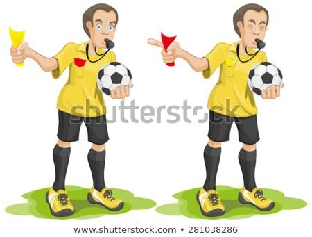 futebol · árbitro · amarelo · cartão · isolado · ilustração - foto stock © orensila