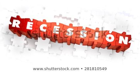 Recession - White Word on Red Puzzles. Stock photo © tashatuvango