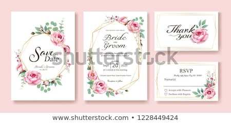 Rose roses invitation frontière image illustration Photo stock © Irisangel