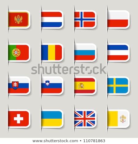 Bandeira etiqueta Ucrânia isolado branco assinar Foto stock © MikhailMishchenko