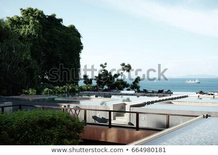 Deck Terrasse Business Gebäude weiß Stock foto © FrameAngel