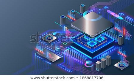 Foto stock: Placa-mãe · brilhante · verde · eletrônico · circuito