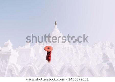Pagoda Myanmar blanco pueblo viaje culto Foto stock © smithore