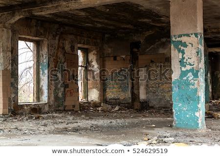 разрушенный современное здание пластиковых Windows электрических кабелей Сток-фото © zhekos