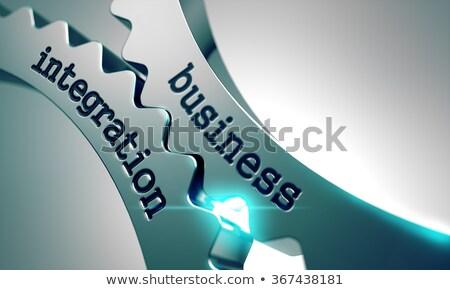 Negócio integração metal engrenagens mecanismo dados Foto stock © tashatuvango