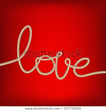 Thread word - love made from yarn on red. EPS 10 Stock photo © beholdereye