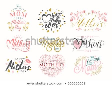 mères · jour · carte · de · vœux · design · or · lettres - photo stock © shawlinmohd