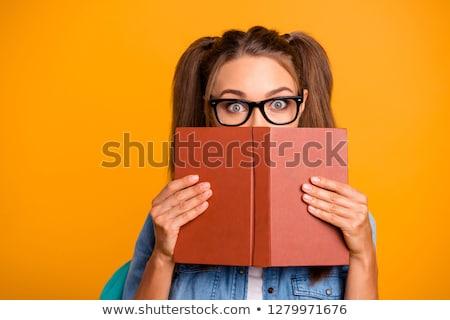 Vicces nő tart izolált fehér lány Stock fotó © deandrobot