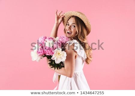 Foto d'archivio: Romantica · signora · fiori · bella · donna · posa
