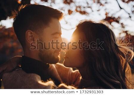 ősz románc fiatal heteroszexuális pár szeretet park Stock fotó © MilanMarkovic78