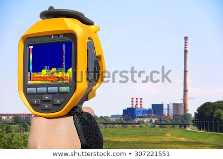 Record heat emission at the Chimney of energy station with infra Stock photo © smuki