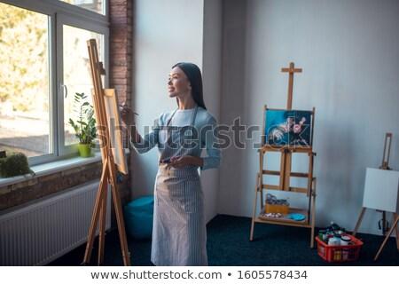 Привлекательная женщина художник рабочих холст подробность Открытый Сток-фото © dash