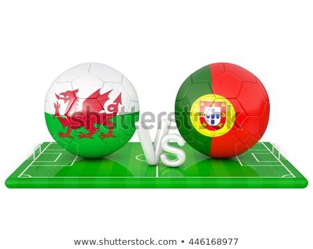 Euros 2016 Portugal vs pays de galles drapeaux Photo stock © Oakozhan
