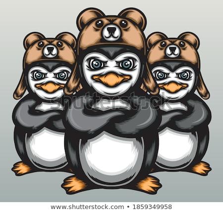 funny polar bear family with snow mountain background Stock photo © jawa123