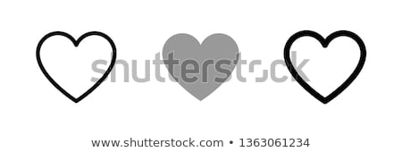 Coeur amour icônes main rouge Photo stock © zsooofija