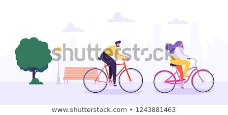 férfi · lovaglás · bicikli · város · hipszter · szakáll - stock fotó © rastudio