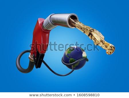 Benzine pompen wereldbol illustratie witte model Stockfoto © bluering