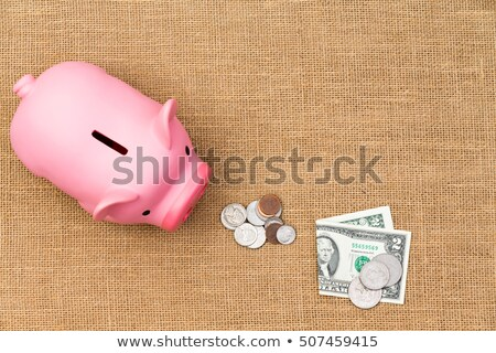 pile of loose usd cash feeding a piggy bank stock photo © ozgur