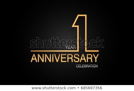 1st anniversary celebration badge label in golden color Stock photo © SArts