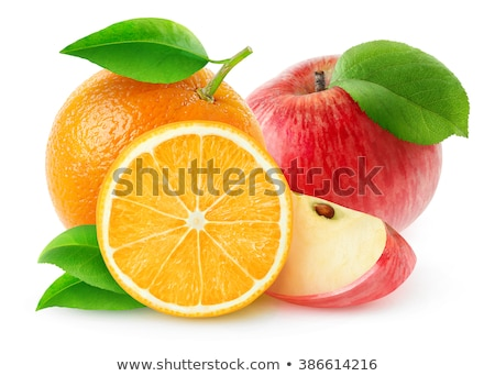Pomme orange contraste fruits Photo stock © mybaitshop
