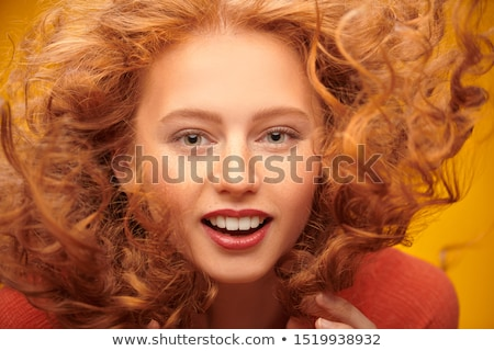 beauty young redhead woman with red flying hair, funny ginger fresh spa girl isolated on white backg Stock photo © iordani