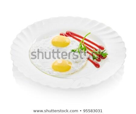 Tükörtojás tányér út izolált fehér Stock fotó © Givaga