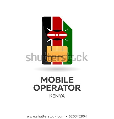 Kenya mobile operator. SIM card with flag. Vector illustration. Stock photo © Leo_Edition