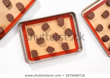 Kilátás sütik sütés lap fa asztal szeretet Stock fotó © wavebreak_media