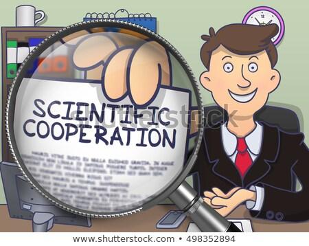 Scientific Cooperation through Magnifier. Doodle Concept. Stock photo © tashatuvango