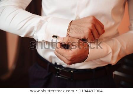 Biznesmen mankiet przyciski biały działalności pracy Zdjęcia stock © wavebreak_media