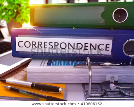 blue office folder with inscription correspondence stock photo © tashatuvango