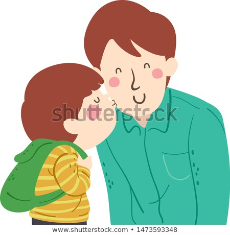 Stock photo: dad kissing boy going to school