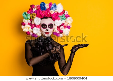 Beautiful woman portrait for Mexican holiday day of dead Stock photo © orensila