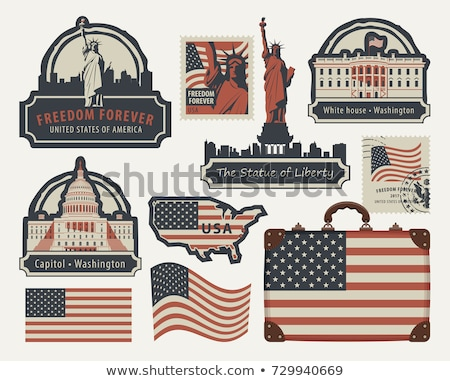 United states travel stamps set - USA journey symbols Stock photo © gomixer